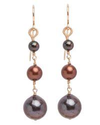 Dana Kellin | Purple Mauve Mix Pearl Drop Link Earrings | Lyst