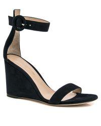 Gianvito Rossi Blue Denim Wedge Ankle Sandals