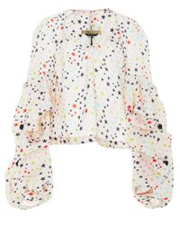 Hellessy Multicolor Louise Buttoned Puff Sleeve Top