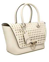 Valentino White Ivory Spike Demilune Double Handle Bag