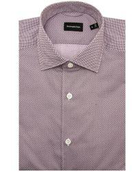 Ermenegildo Zegna Red Geometric Short Sleeve Shirt for men
