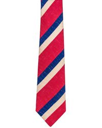 Kiton Black Red Royal Blue And Ivory Stripe Tie for men
