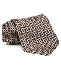 Brioni Brown Tan And Chocolate Geometric Tie for men