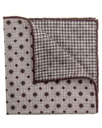 Eleventy Gray Grey Floral And Houndstooth Pocket Square
