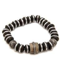 Loree Rodkin Black Striped Wood And Bone Bead Bracelet