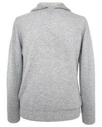 Eleventy Gray Light Grey Ribbed Knit Hooded Sweatshirt