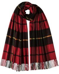 Johnstons Black Wallace Tartan Oversized Classic Cashmere Scarf for men