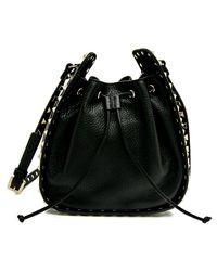 Valentino Garavani Small Black Rockstud Bucket Bag
