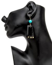 Ashley Pittman - Multicolor Dark Horn With Turquoise Earrings - Lyst