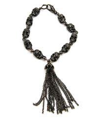 Loree Rodkin Black Hollow Skull Decay Fringe Tassel Bracelet