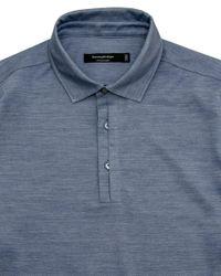 Ermenegildo Zegna - Heather Blue Jersey Knit Polo for Men - Lyst