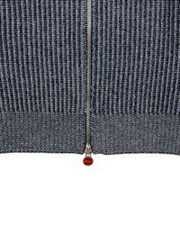 Kiton Blue Navy Ribbed Knit Sweater for men