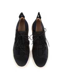 Dries Van Noten Black Fabric And Leather Sneakers for men