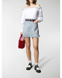 Miu Miu Blue Paper-bag Waist Denim Skirt