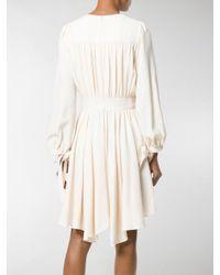Chloé - Natural Flared Ruffled Dress - Lyst