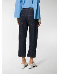 Fendi Blue Faux-pearl Embellished Cropped Jeans