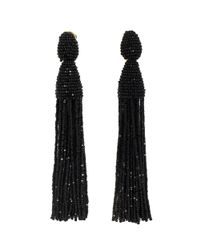 Oscar de la Renta Black Two-tiered Short Tassel Earring