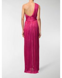 Maria Lucia Hohan Multicolor Pleated One Shoulder Gown