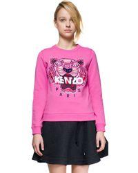 KENZO - Pink Embroidered Cotton Sweatshirt - Lyst