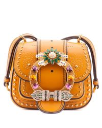 Miu Miu | Orange Jewelled Leather Shoulder Bag | Lyst