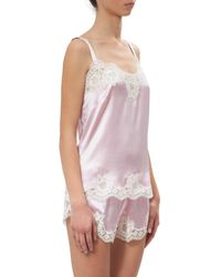 Dolce & Gabbana - Pink Lace-trimmed Silk Satin Top - Lyst