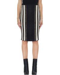 Balmain Black Striped Lame' Skirt