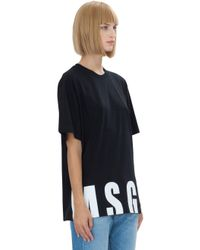 MSGM | Logo Printed Black Cotton T-shirt | Lyst