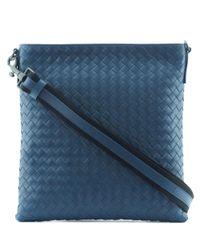 Bottega Veneta | Blue Intrecciato Leather Cross Body Bag for Men | Lyst