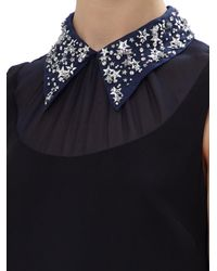 Miu Miu Black Sleeveless Short Dress With Embellished Star Collar