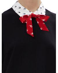 Miu Miu Black Short Dress With Contrasting Swallow Print Collar