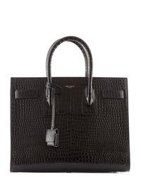 Saint Laurent | Black Crocco Print Leather Sac Du Jour Top Handle Bag | Lyst