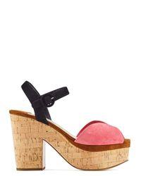 Prada | Multicolor Two Tone Suede Cork Platform Sandals | Lyst