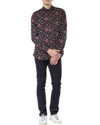 Saint Laurent Black Signature Yves Collar Printed Shirt for men