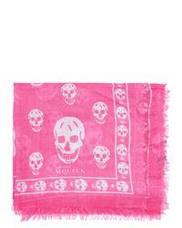Alexander McQueen Pink Skull Motif Silk Blend Scarf