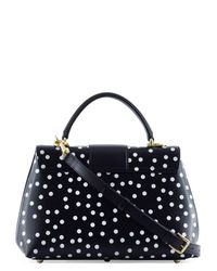 Dolce & Gabbana - Black Lucia Polka-dot Print Leather Tote - Lyst