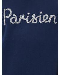 Maison Kitsuné - Blue Parisien Embroidered Cotton Sweatshirt for Men - Lyst