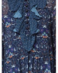 See By Chloé Blue Floral Print Ruffle Dress