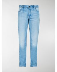Fendi - Blue Logo Slim Jeans for Men - Lyst