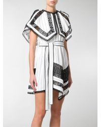 Self-Portrait Black Monochrome Stripe Handkerchief Dress
