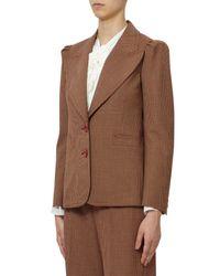 Chloé Brown Micro Check Virgin Wool Blend Jacket