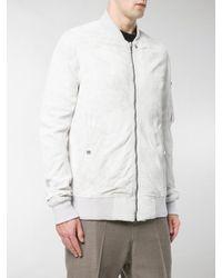 Rick Owens White Dirt Leather Bomber Jacket for men
