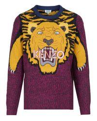 KENZO Purple Tiger Intarsia Sweater
