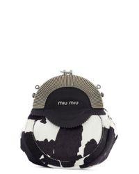 Miu Miu Black Ornate Pony Fur Clutch