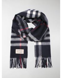 Burberry Blue Checked Scarf for men