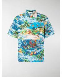 Prada Blue Island Fish Print Bowling Shirt for men