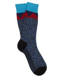 Prada Blue Patterned Cotton Socks for men