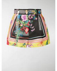 Versace Black Floral Greca Print Shorts