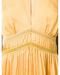 Self-Portrait Yellow Pleated Midi Dress
