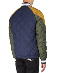 KENZO - Blue Three Tone Quilted Bomber Jacket for Men - Lyst