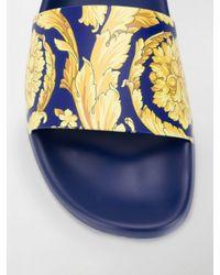 Versace Pantoletten mit Barock-Print in Blue für Herren